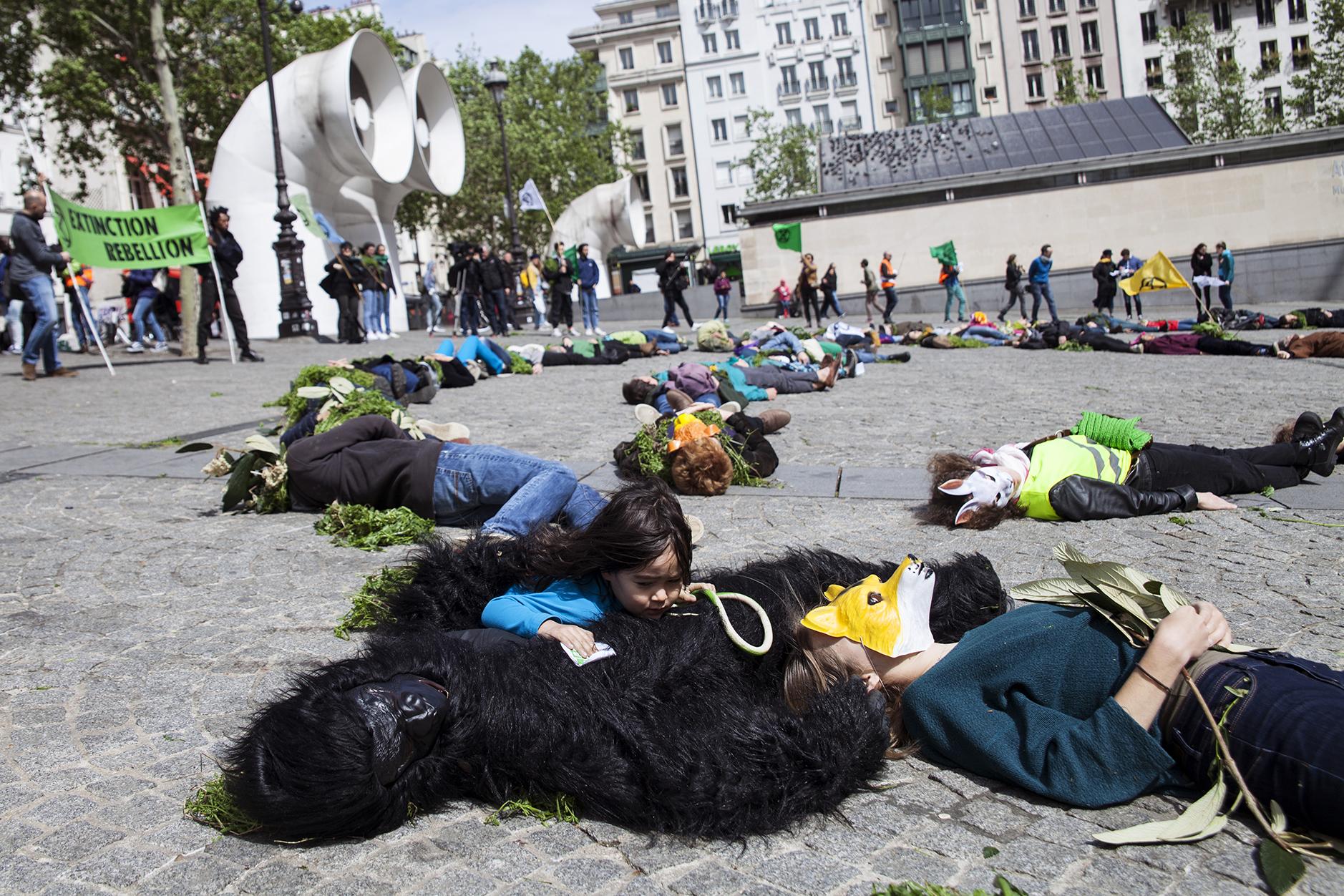 27 avril 2019, action des activistes du mouvement Extinction Rebellion France à Paris