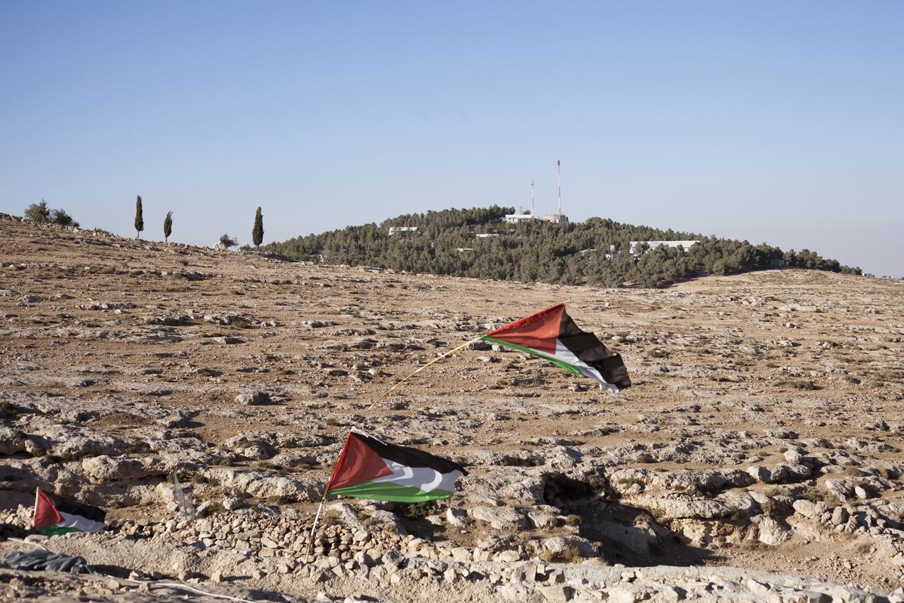 Au loin, l'outpost verdoyant d'Havat Ma'on. Bien que l'installation des colons à cet endroit soit illégale pour Israël, ils ne sont pas inquiétés par l'armée, et peuvent cultiver la terre grâce à un accès à l'eau potable permanent.